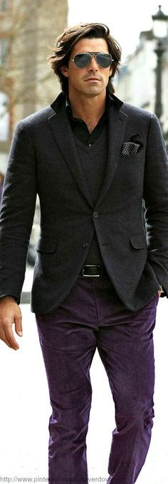 Aubergine colored pants. 17 Most Popular Street Style Fashion Ideas for Men