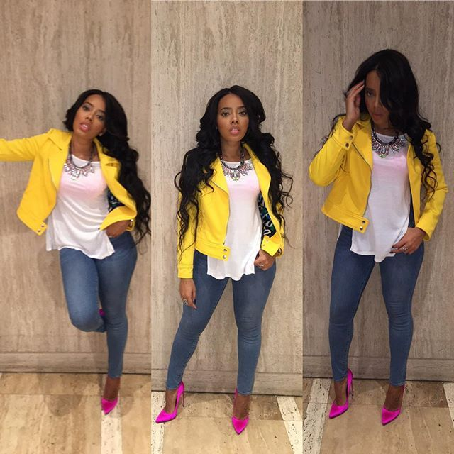 Angela Simmons. Pop of Color. Hot Pink.