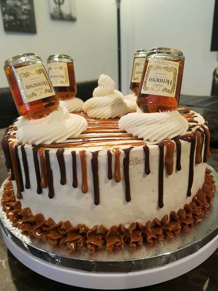 Caramel Pecan Cake with Rum buttercream and Caramel filling with Hennessy buttercream frosting