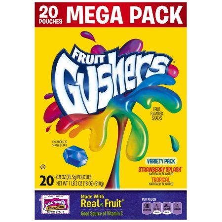 Betty Crocker® Fruit Gushers® Strawberry Splash®/Tropical Fruit Flavored Snacks Variety Pack 20-0.9 oz. Pouches - Walmart.com