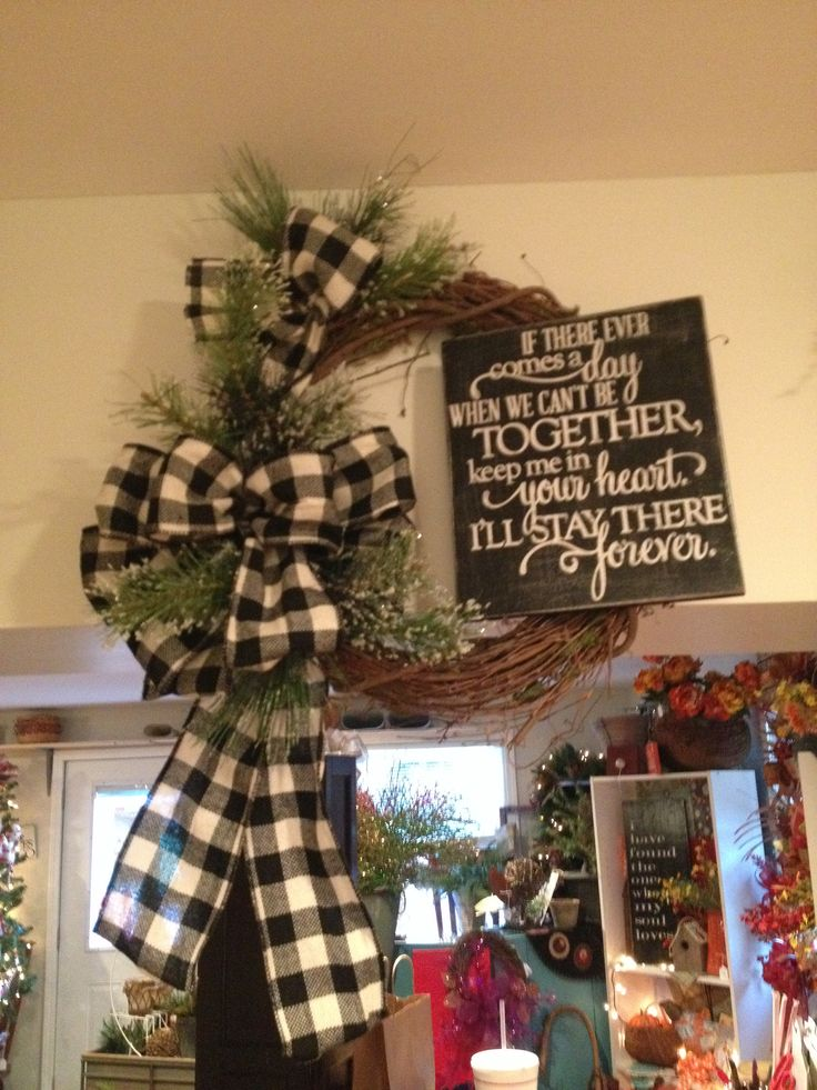 Christmas Wreath Idea for red check bow at Xmas