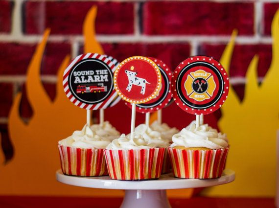 Fire Truck Cupcake Toppers Fire Truck Birthday