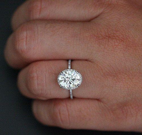 Fine Classic Moissanite Diamond Engagement Ring by Twoperidotbirds