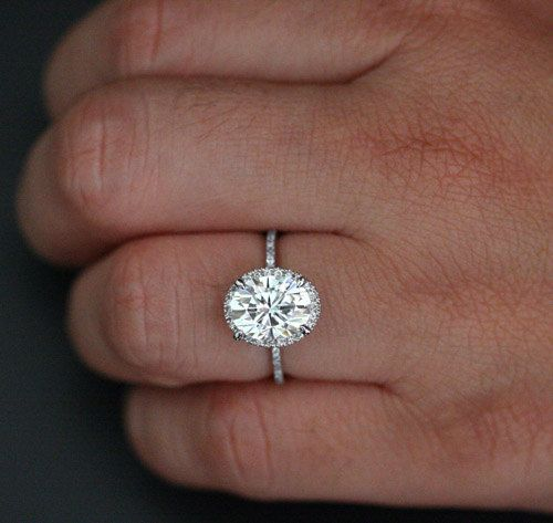 Fine Moissanite Diamond Engagement Ring in 14k White Gold with Forever Brilliant Moissanite Oval 10x8mm and Diamonds