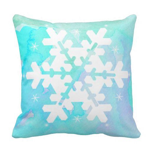 Very pretty Snowflake Watercolor Pillow.