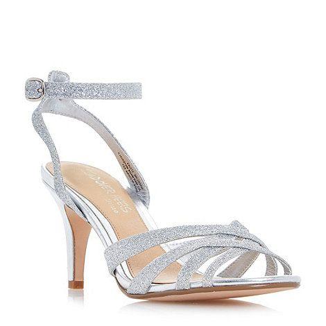 Head Over Heels by Dune Silver 'Madeline' cross strap mid heel dressy sandals | Debenhams