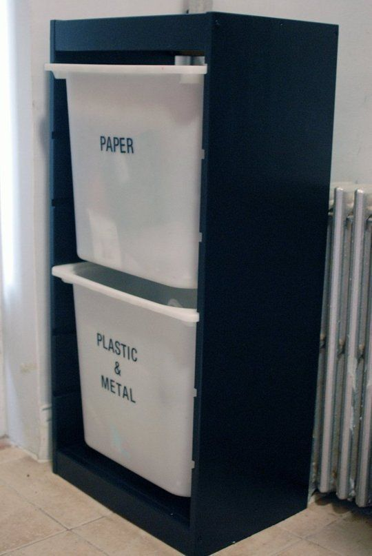 Great use of the cheap Ikea Trofast system for recycling!! Looks better than ugly plastic garbage cans in the kitchen. by KRLN
