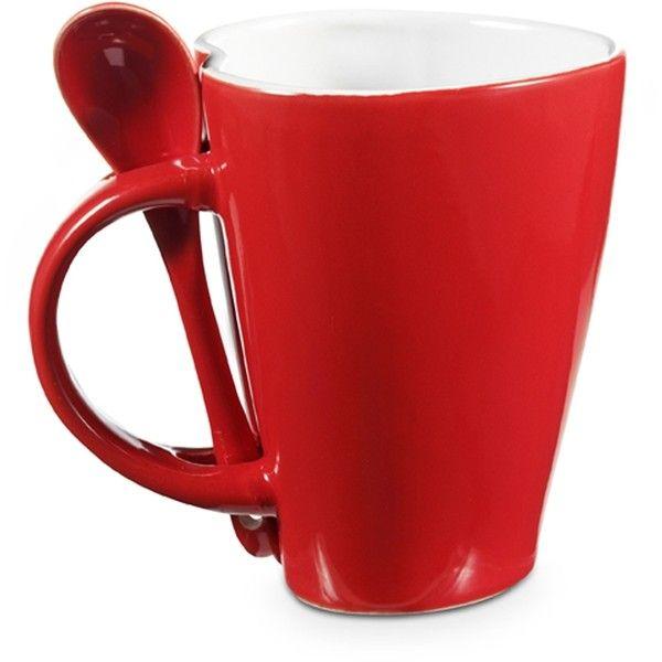 Heart Shaped Mug with Spoon Set | Custom Printed Mugs | Navillus ❤ liked on Polyvore featuring home, kitchen & dining, drinkware, ceramic coffee mugs, heart shaped coffee mug, ceramic mugs, heart coffee mug and heart mug