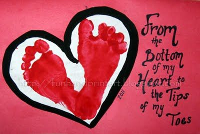 How to use your child's foot print to make a homemade, and meaningful Valentine.