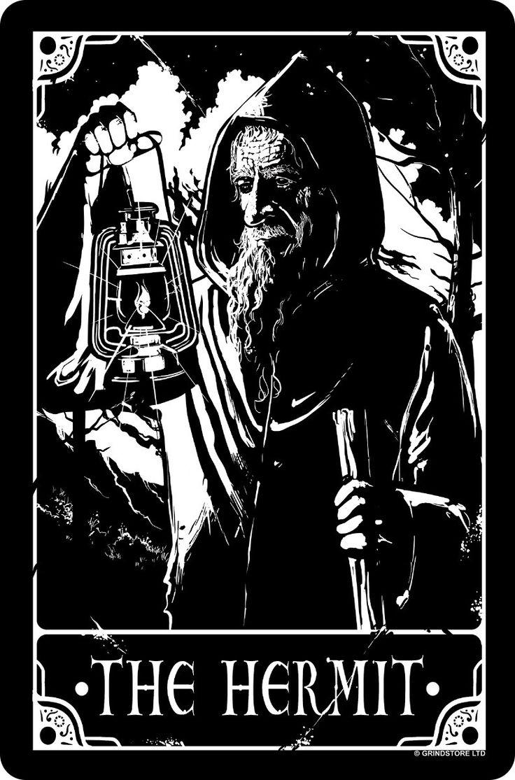 Deadly tarot the hermit greet tin card the hermit