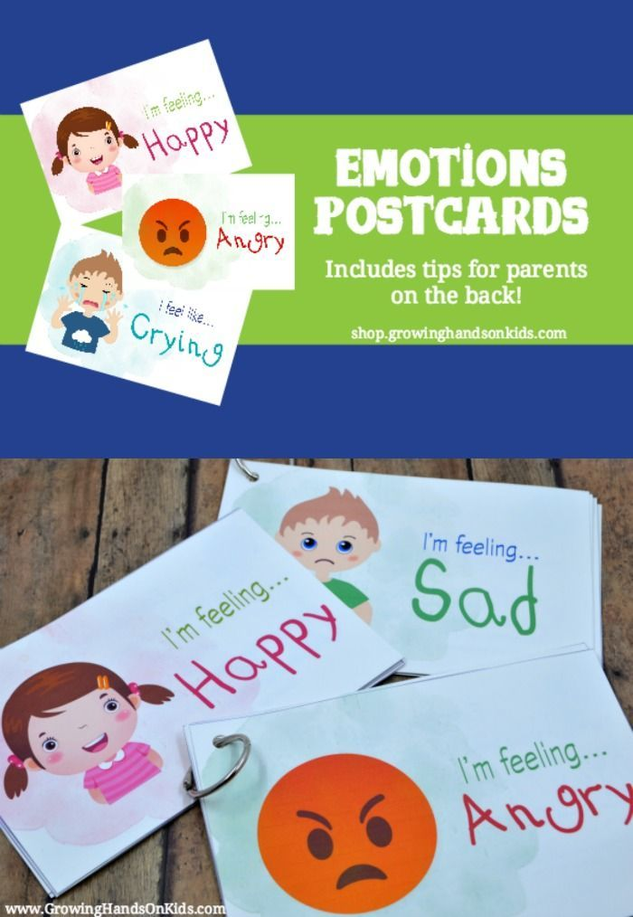 Teaching Emotions to Kids: Emotions Postcards. Includes tips for parents on how to help kids self-regulate!