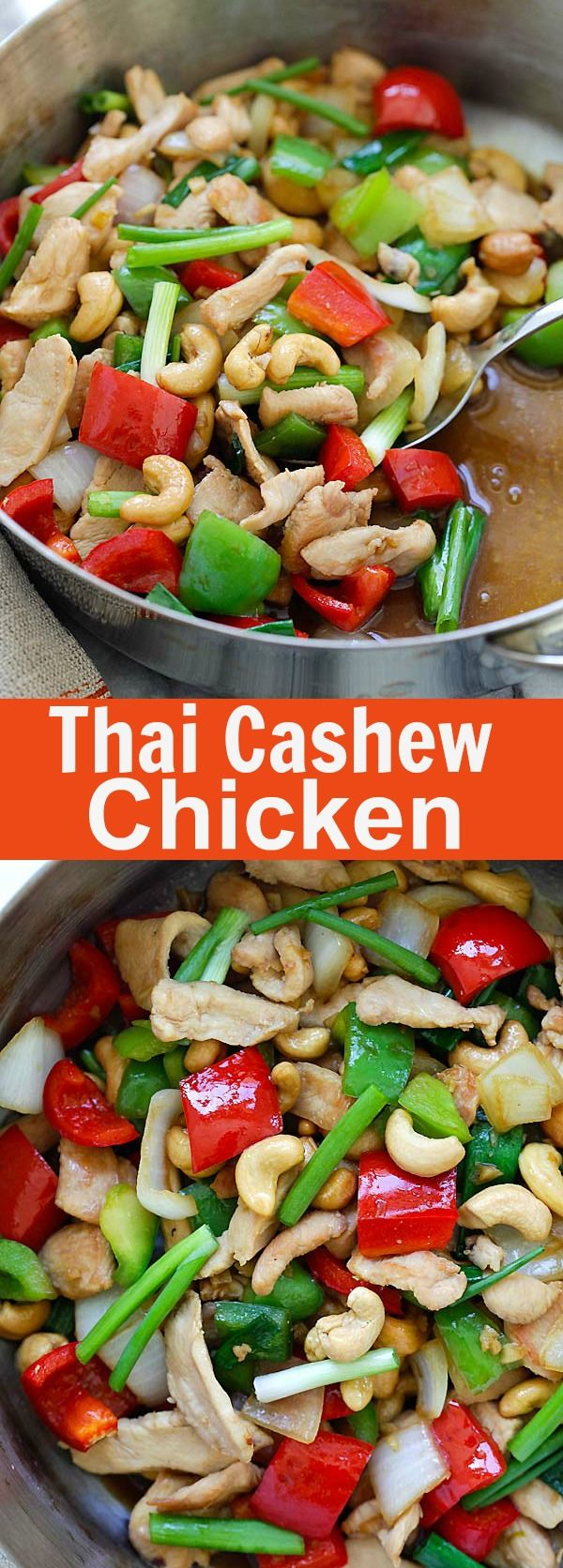 Thai Cashew Chicken – best Thai chicken stir-fry with cashew nuts and bell peppers. So easy to make, takes 20 mins and much better than restaurants | rasamalaysia.com