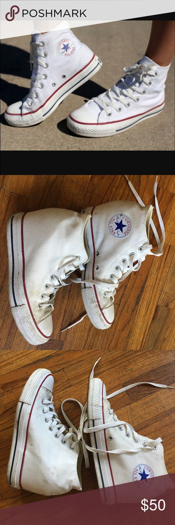 High top white converse wedge 8.5 W Worn a few times, please notice dirt marks. It has a hidden wedge to make your legs look longer and add height. Converse Shoes Sneakers