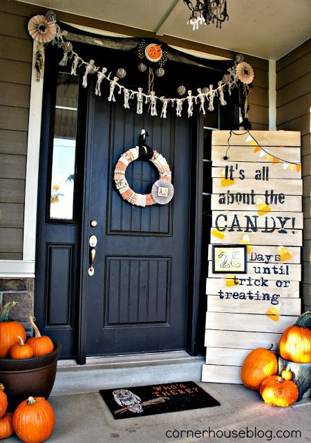 its all about the candy halloween front door display - Halloween Front Doors