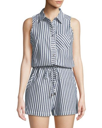 8343a77c72b Striped+Cotton+Shirting+Romper+by+Dex+at+Neiman+Marcus+Last+Call ...