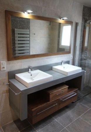 Meuble salle de bain en béton ciré