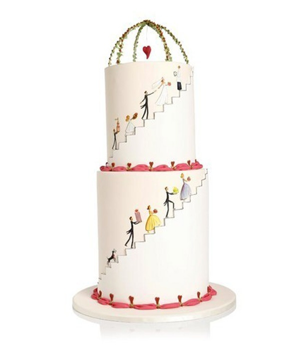Cute Hand Painted Wedding Cake #wedding #cake #2014