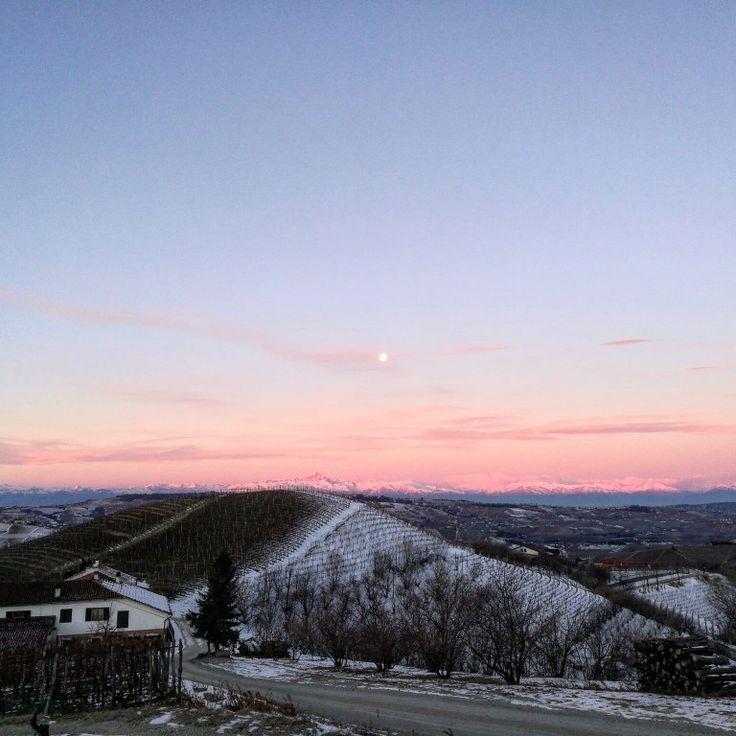Buongiorno!! #instalanghetti #igerslanghe #ig_cuneo #langhe #langheunesco #cool #sunrise #monviso #alpi #wine #nofilters #paesaggidivini #dianodalba #fratelliaimasso