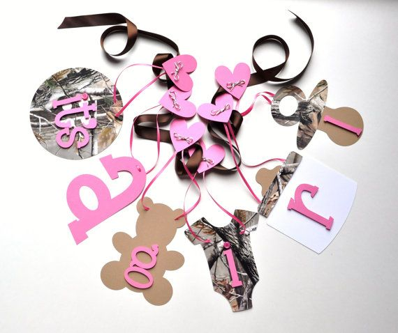 Realtree Camo Pink Baby Shower Decoration - It's A Girl. $16.50 #camo #babyshower