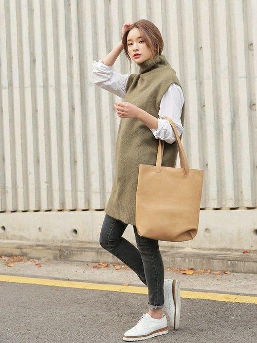 ロングベストなら組み合わせしやすい☆ボトルネック ベストの着こなし・コーデ・スタイル・ファッション☆