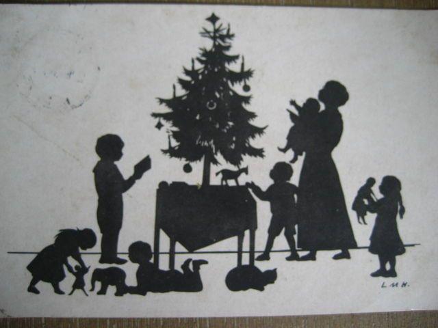 Ak scherenschnitt weihnachten familie embroidery for Scherenschnitt vorlagen weihnachten