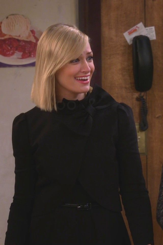 Caroline Channing wearing  Alice   Olivia Bow Neck Jacket With Round Hem