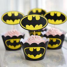 Grátis frete 24 Pcs Batman envoltórios do queque do bebê festa de aniversário chá de coco do bolo de decoração(China (Mainland))