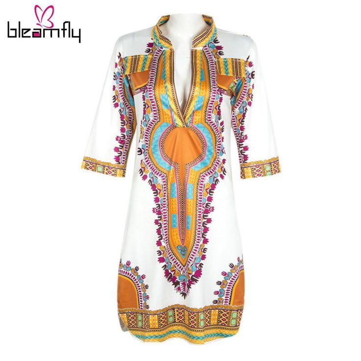 卸売2016アフリカのドレスのための女性服伝統dashikiドレスアフリカプリントvネックプラスサイズインドのドレス