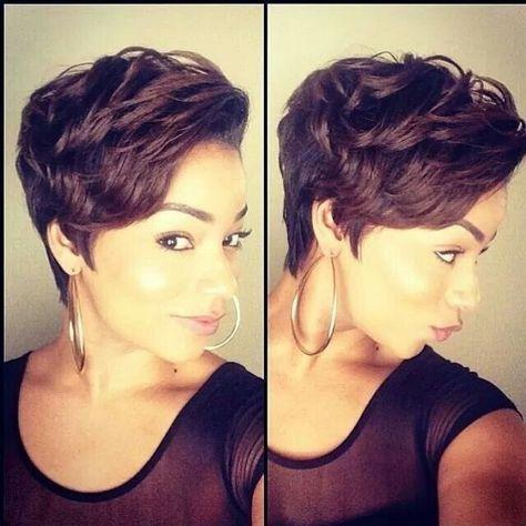 Idées et Tendances coupe courte Tendance   Image    Description  Messy, Layered Short Haircut for African American Women