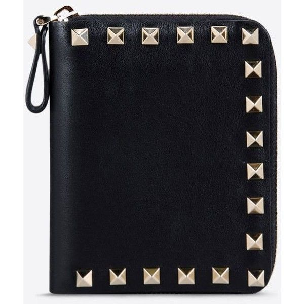 Valentino Rockstud wallet (£385) ❤ liked on Polyvore featuring bags, wallets, black, black zipper wallet, black zip wallet, bi fold wallet, black zip bag and zip bags