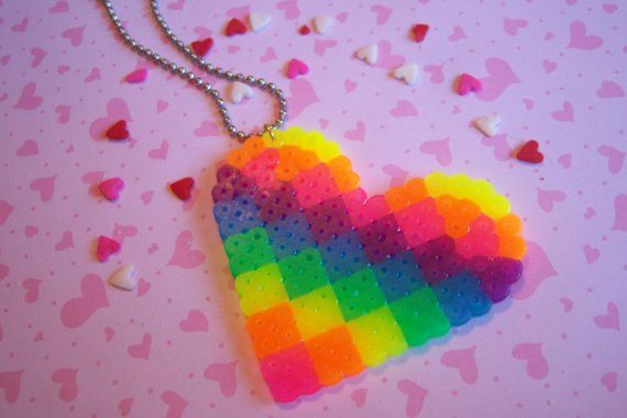 Rainbow Heart Perler Necklace