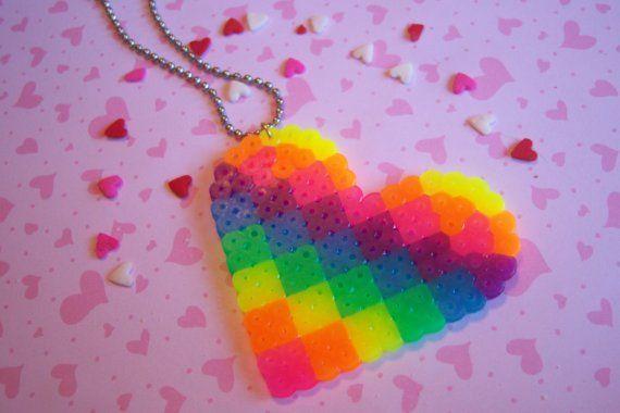 Rainbow Heart Perler Necklace