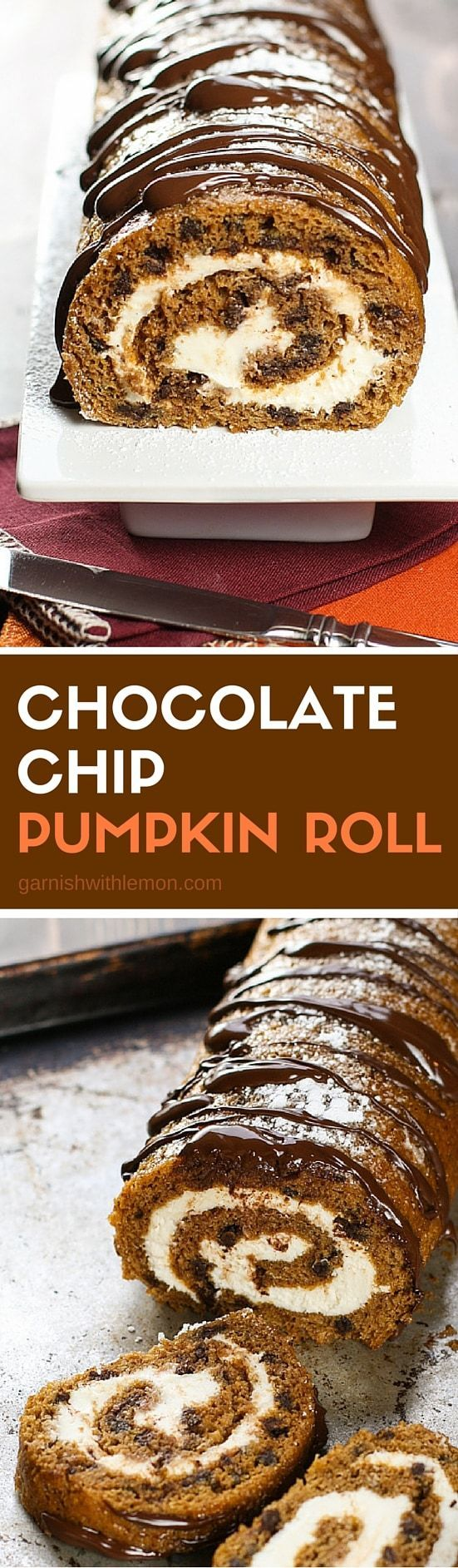 Put a chocolatey twist on your holiday dessert table with this irresistible Chocolate Chip Pumpkin Roll!