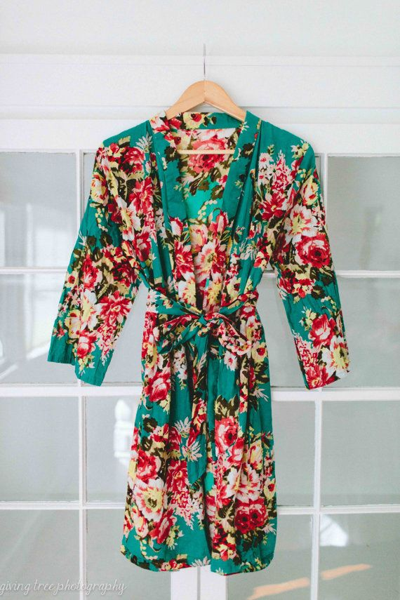 205 Floral kimono cross over robe CUSTOM by ComfyClothing on Etsy