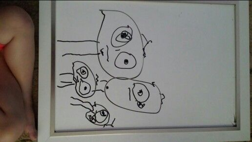 Granddaughters drawing of her family she is 2 years old