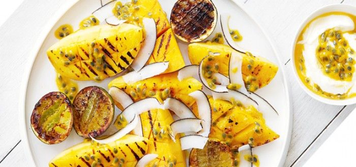 barbecued mango with passionfruit yoghurt