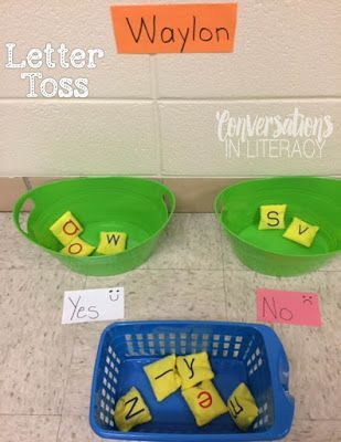 NSP, ABC, and TC PREK teachers ...LOVE this center idea or for word work after GR http://group.Name recognition for PreK and K and maybe HF words for 1sy graders!!!!.....Conversations in Literacy: Sticky Letters