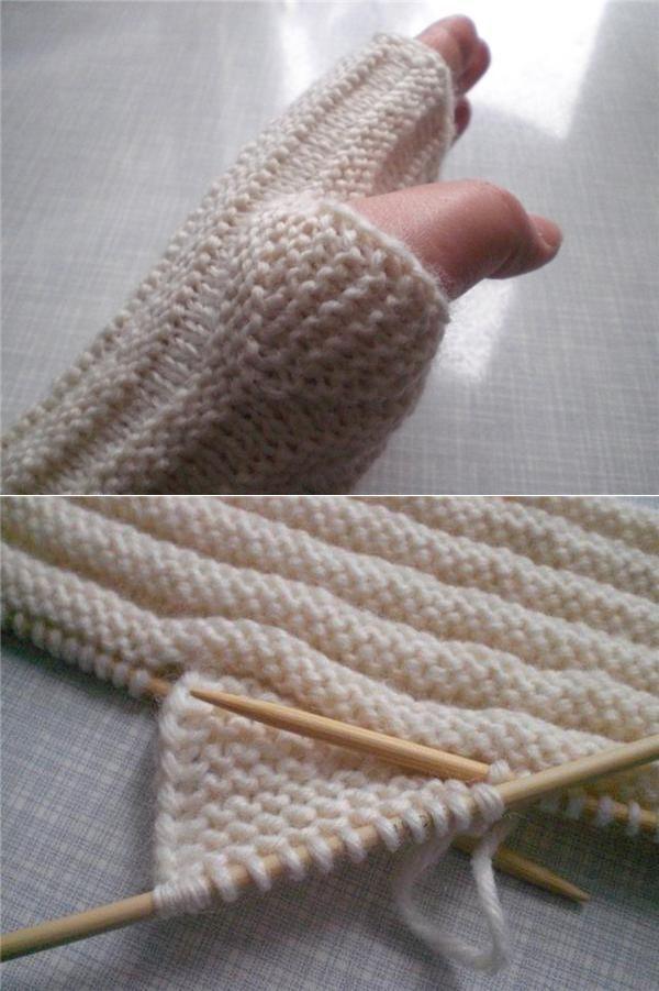 Простое вязание спицами митенки