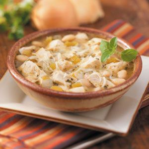 White Chicken Chili Recipe -Folks will enjoy a change from the traditional when they spoon into this flavorful blend of tender chunks of chicken, white beans and just enough zip. —Taste of Home Cooking School