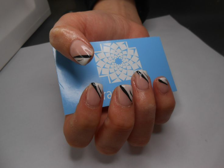 Abstract french gel manicure.
