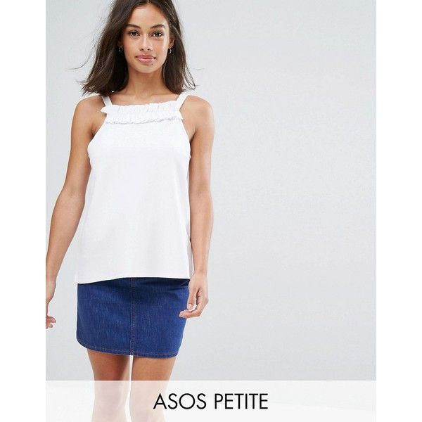 ASOS PETITE Cami In Ponte with Square Ruffle Neck (32 AUD) ❤ liked on Polyvore featuring tops, petite, white, short tank tops, white tank, tall tank tops, white cami tank top and white tops