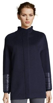 Cinzia Rocca Icons Wool Short Coat With Nylon Sleeve.
