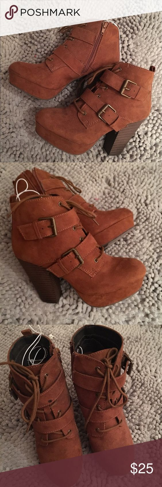 New cute booties! Chestnut / tan / brown size 6 New booties. Tan/chestnut/ brown . It's a size 6, I normally wear a 6.5 and these still fit nicely. So I would say 6-6.5! About a 3 inch heel . Let me know if you have any questions!! Shoes Ankle Boots & Booties