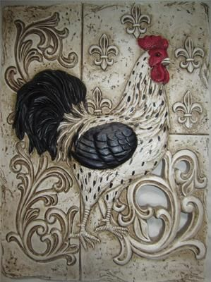 FRENCH COUNTRY ROOSTER TUSCAN FLEUR DE LIS WALL PLAQUE PLATE ART