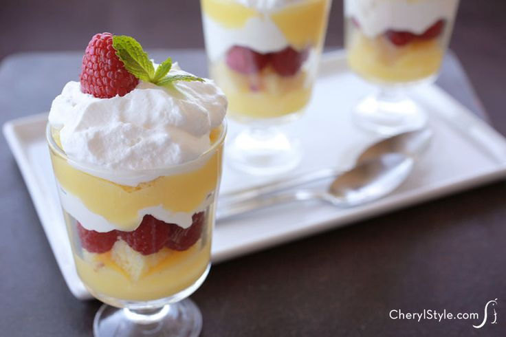 Easy lemon curd trifle with fresh raspberries