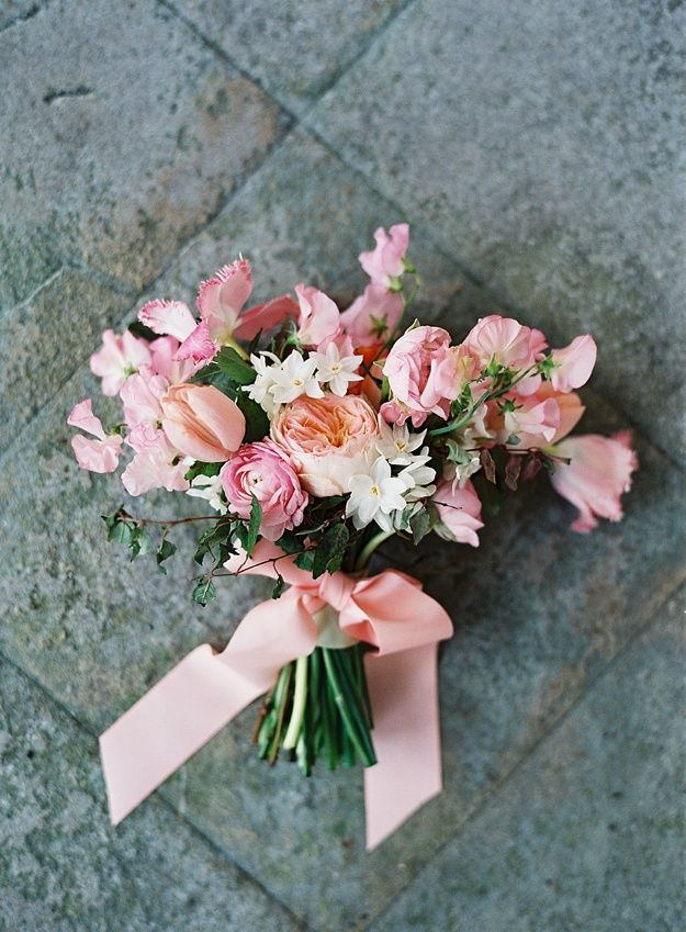 Pink, peach and white bouquet by Frogprince. Courtly Love by Paula O'Hara Photography