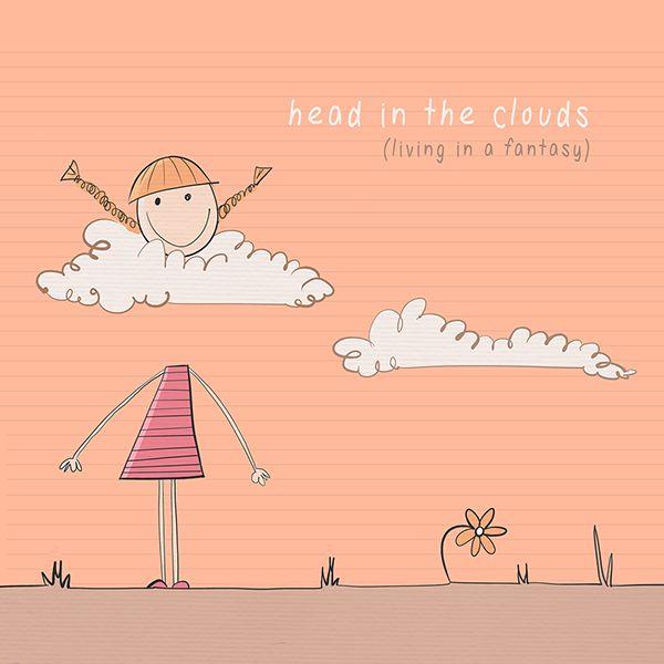 """Clouds czyli chmury są synonimem marzenia, wyobrażania sobie. Jeśli ktoś ma """"head in the clouds"""" to znaczy, że ŻADEN z niego realista tylko marzyciel ...Łatwo będzie sobie to zapamiętać jeśli popatrzymy na obrazek:"""