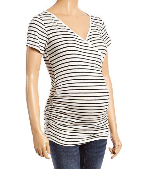 Ivory & Black Stripe Maternity/Nursing Wrap Top