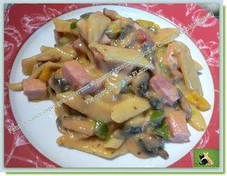Pennes sauce asperge, poivrons et champignons, jambon et chorizo, (Cooking chef)