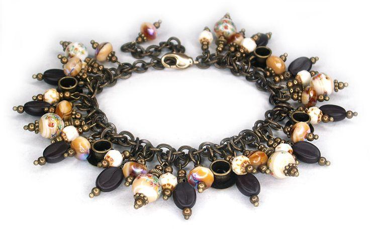 """Caramel Cappuccino"" handmade Bracelet.  Made with vintage Japanese millefiori glass and Czech coffee bean shaped glass beads.  shesterneva.com"